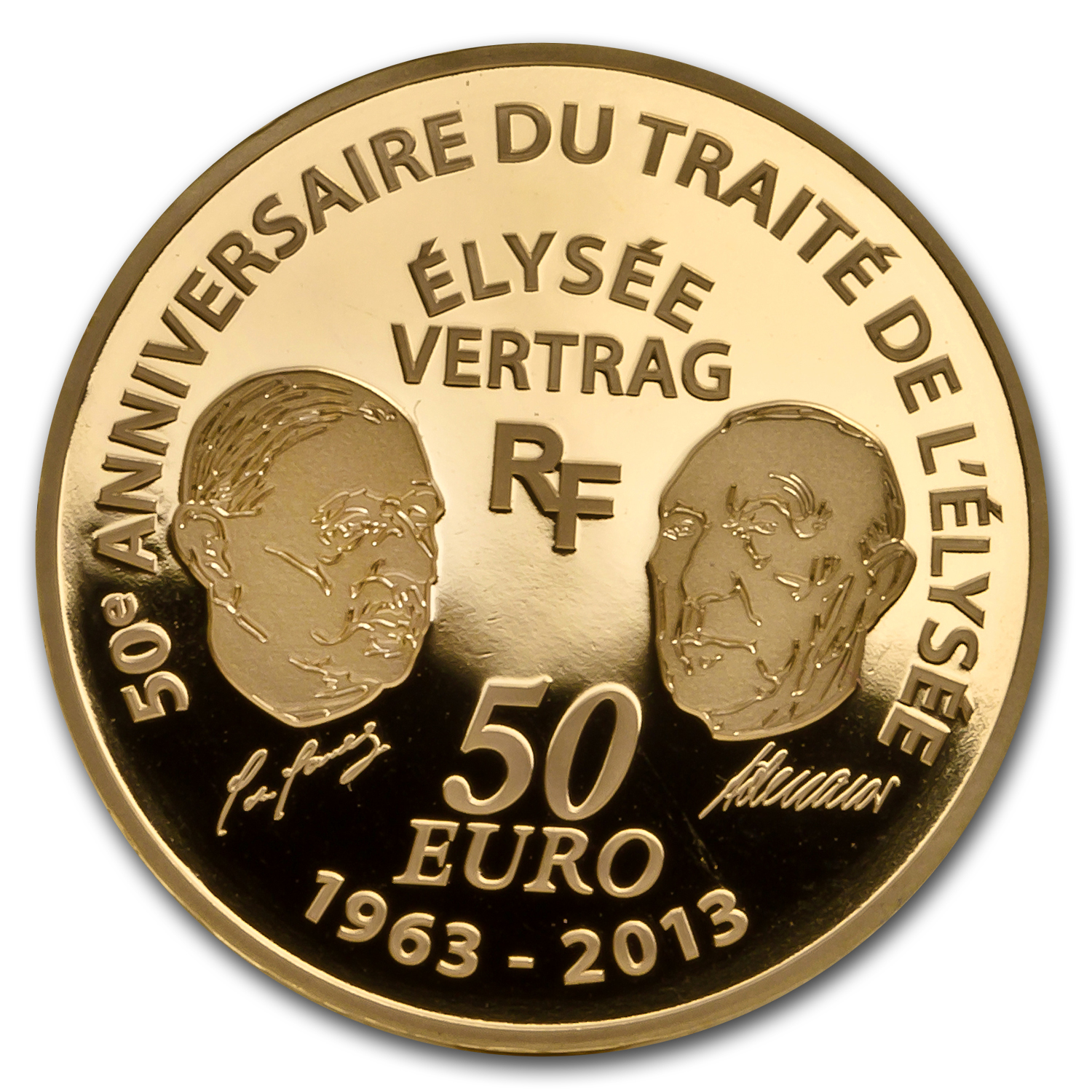 2013 1/4 oz Gold Europa Series - 50th Anniv. of Élysée Treaty