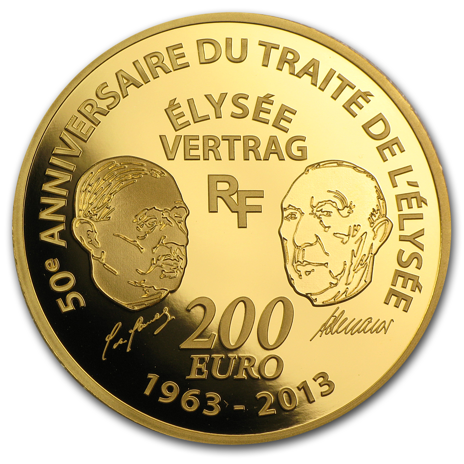 2013 1 oz Gold Europa Series 50th Anniv of Élysée Treaty