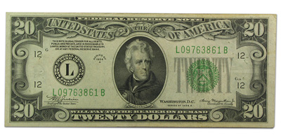 1934-A (L-San Francisco) $20 FRN (Very Fine)