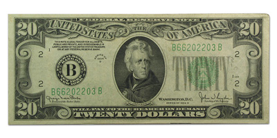1934-D (B-New York) $20 FRN New Back (Very Fine)