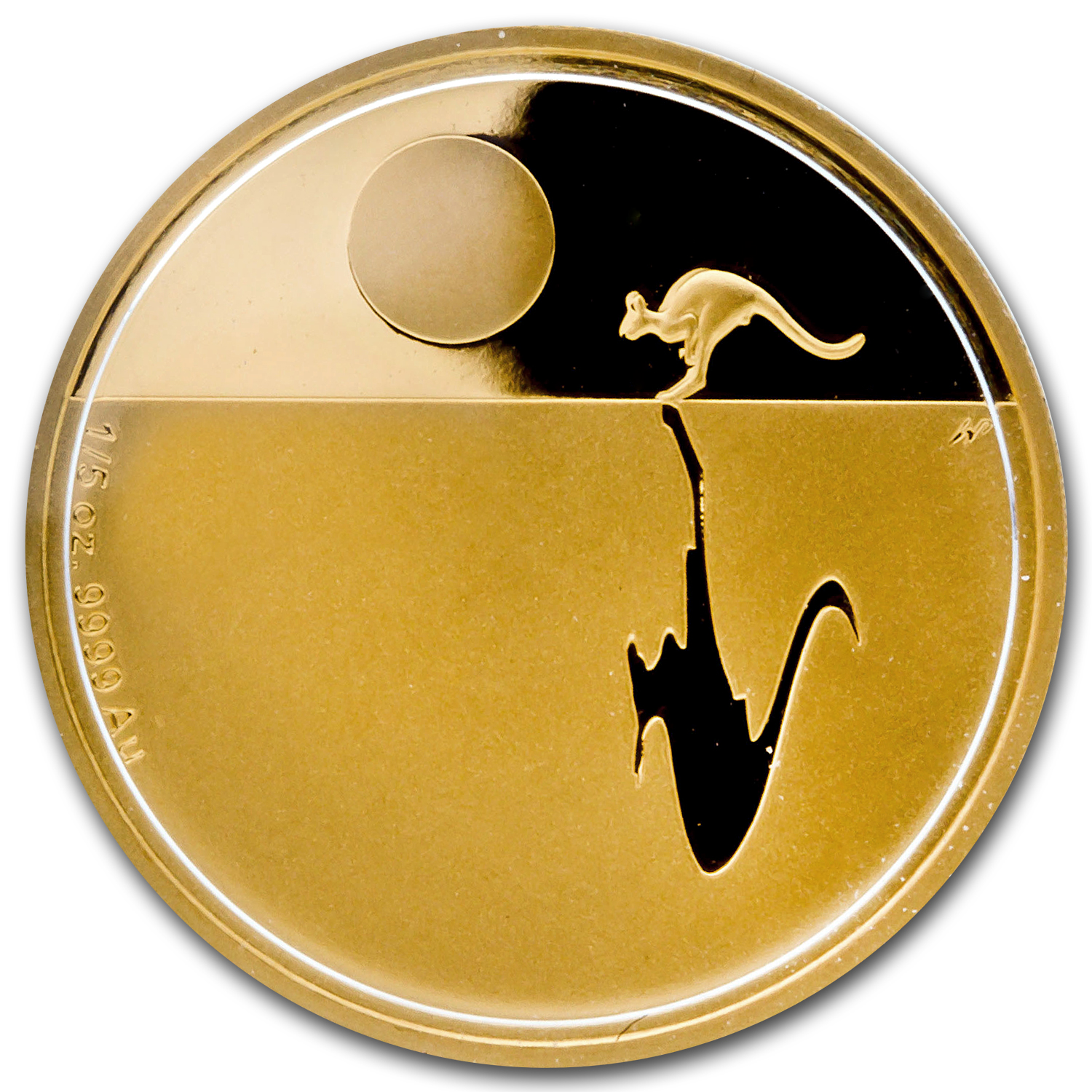 2013 Australia 1/5 oz Proof Gold Kangaroo at Sunset