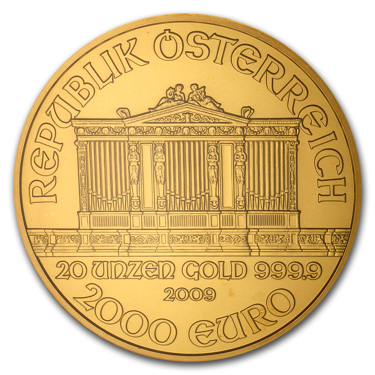 2009 20 oz Gold Austrian Philharmonic MS-67 NGC (20th Ann)
