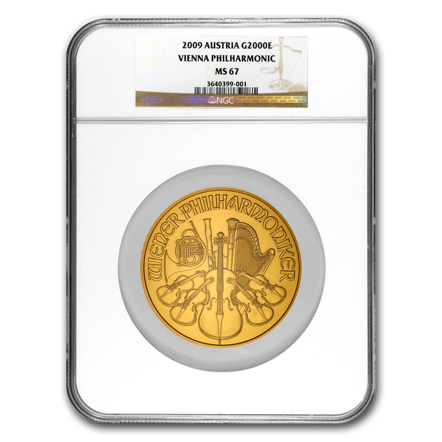 2009 Austria 20 oz Gold Philharmonic MS-67 NGC (20th Ann)