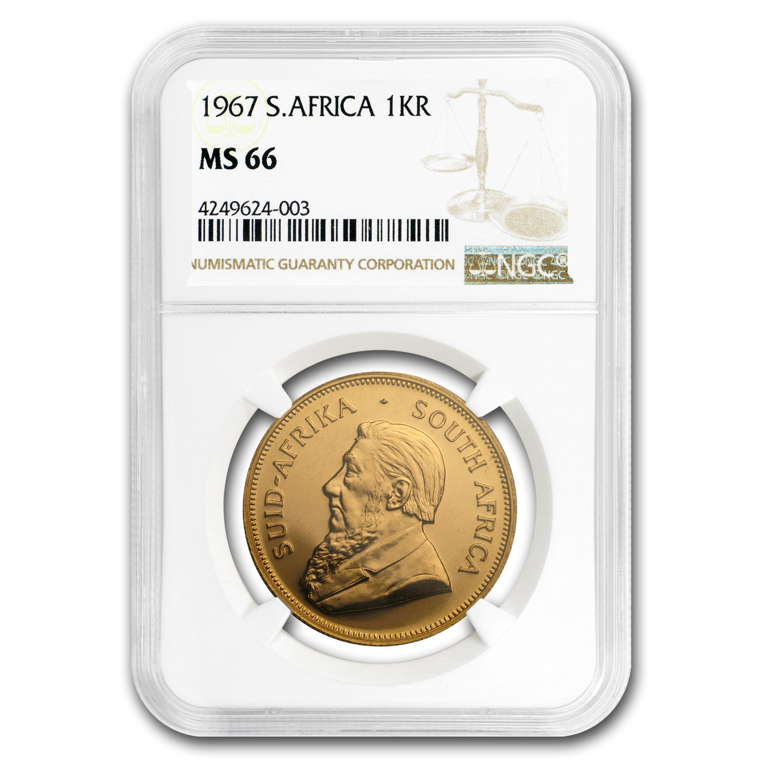1967 South Africa 1 oz Gold Krugerrand MS-66 NGC