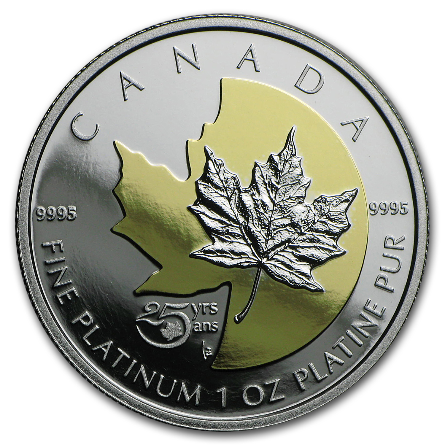 2013 Canada 1 oz Proof Platinum $300 25th Anniv of the Maple