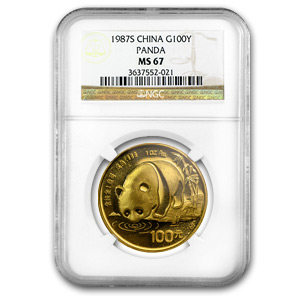 1987-S 1 oz Gold Chinese Panda MS-67 NGC