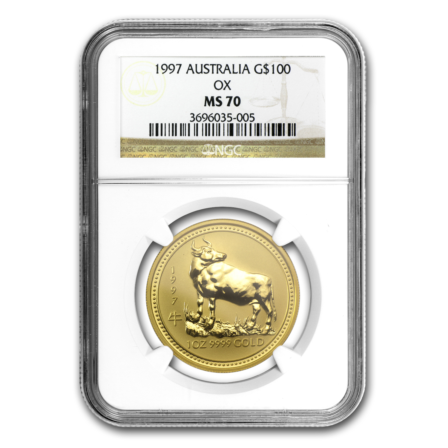 1997 1 oz Gold Year of the Ox Lunar Coin (SI) NGC MS-70