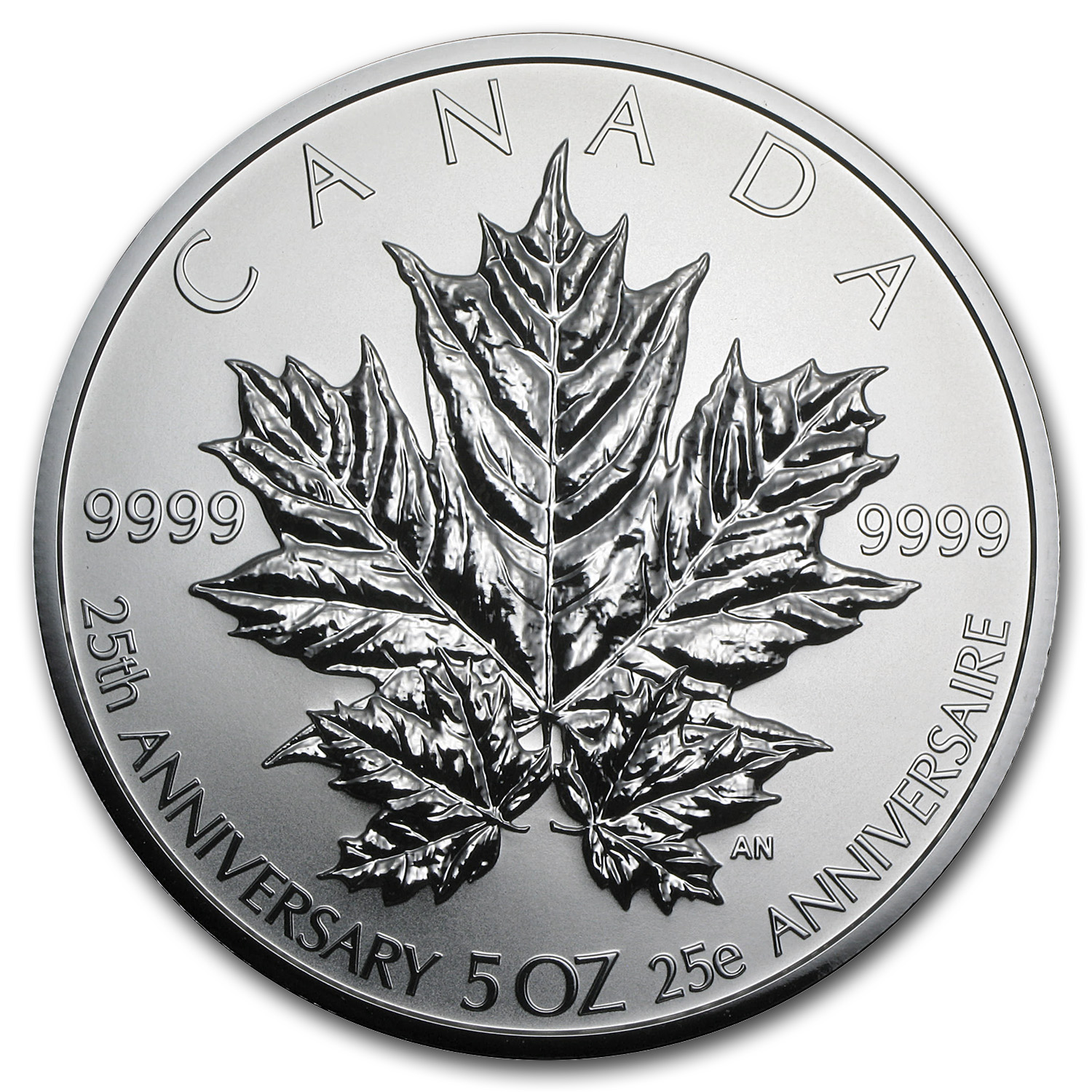 2013 Canada 5 oz Silver $50 25th Anniv. of the Silver Maple