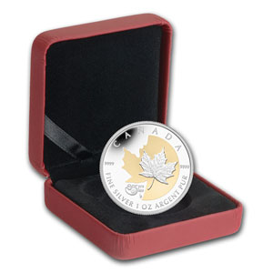 2013 1 oz Silver Canadian 25th Anniv of the Silver Maple (Gilded)