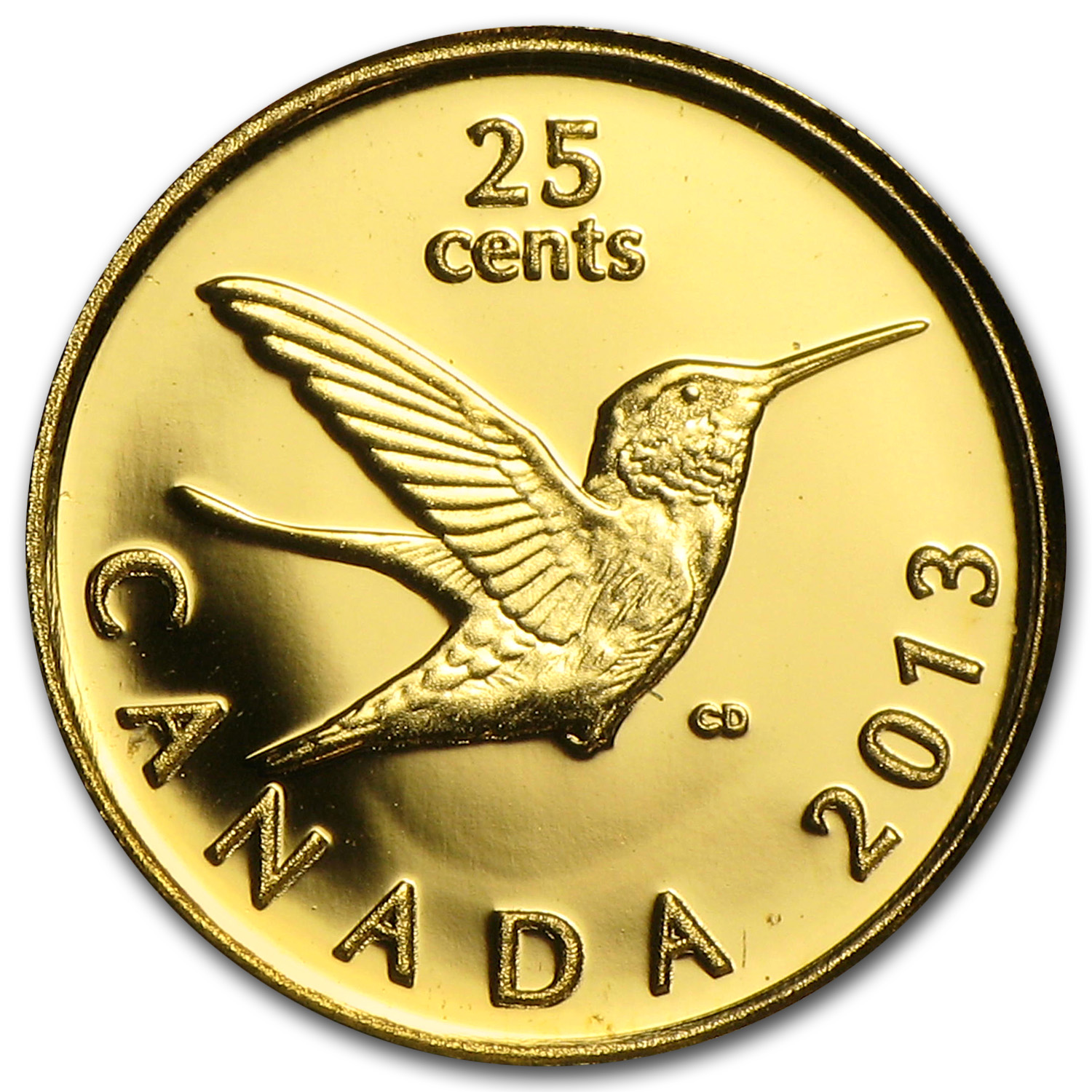 2013 1/2 Gram Gold Canadian $0.25 Hummingbird