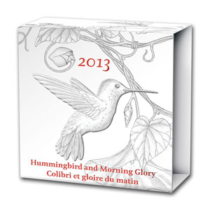 2013 Canada 1/4 oz Silver $3 Hummingbird & Morning Glory Flower