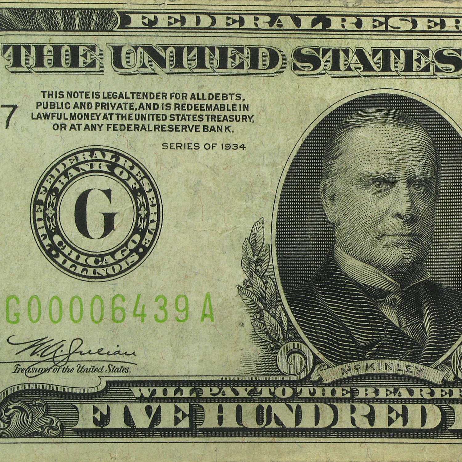 1934 (G-Chicago) $500 FRN (Very Fine +) LGS
