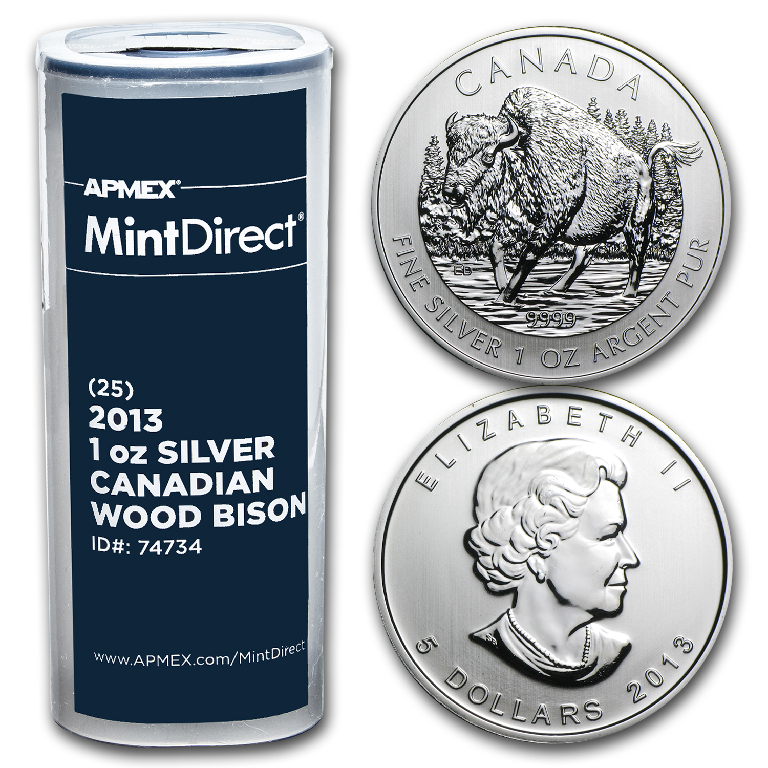 2013 1 oz Silver Canadian Wood Bison 25-Coin MintDirect® Tube