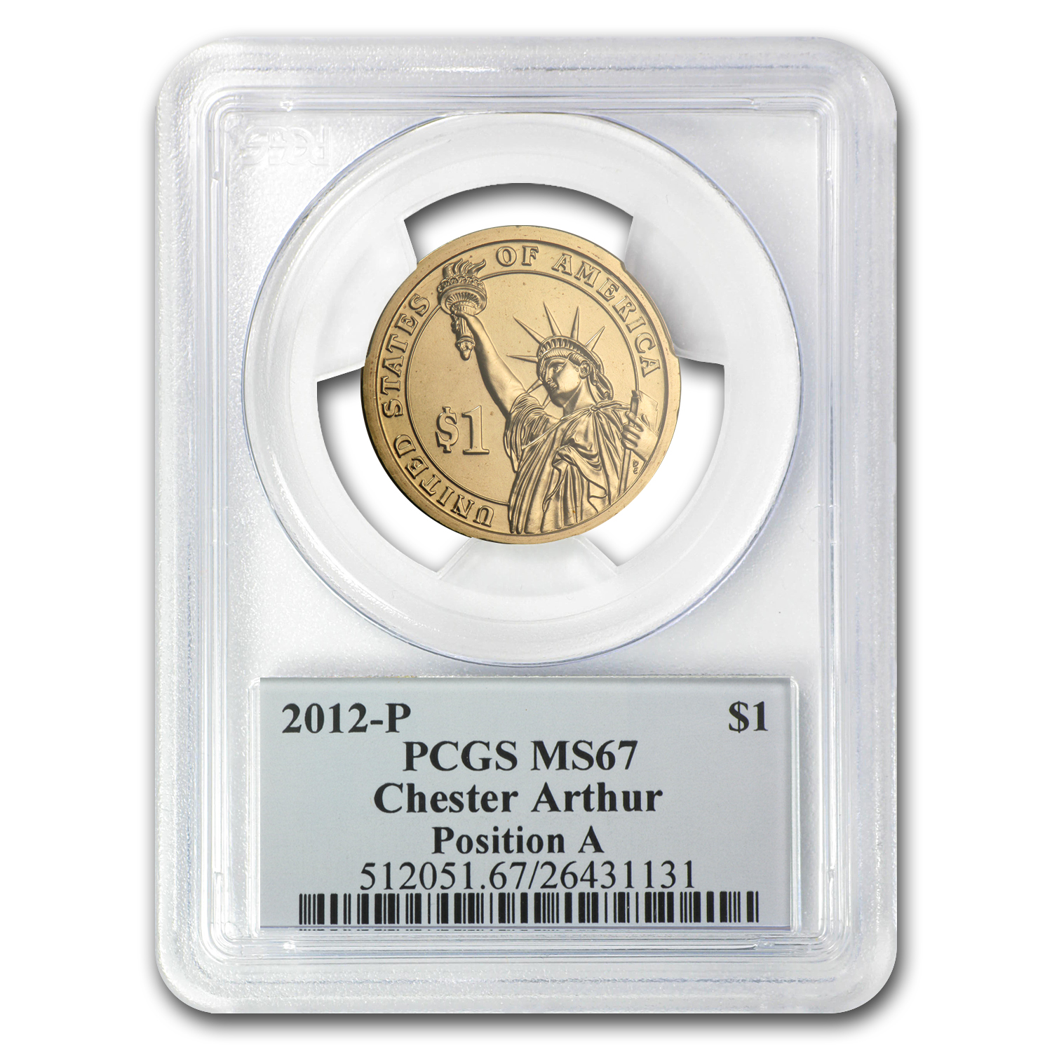 2012-P A Position Chester Arthur Presidential Dollar MS-67 PCGS