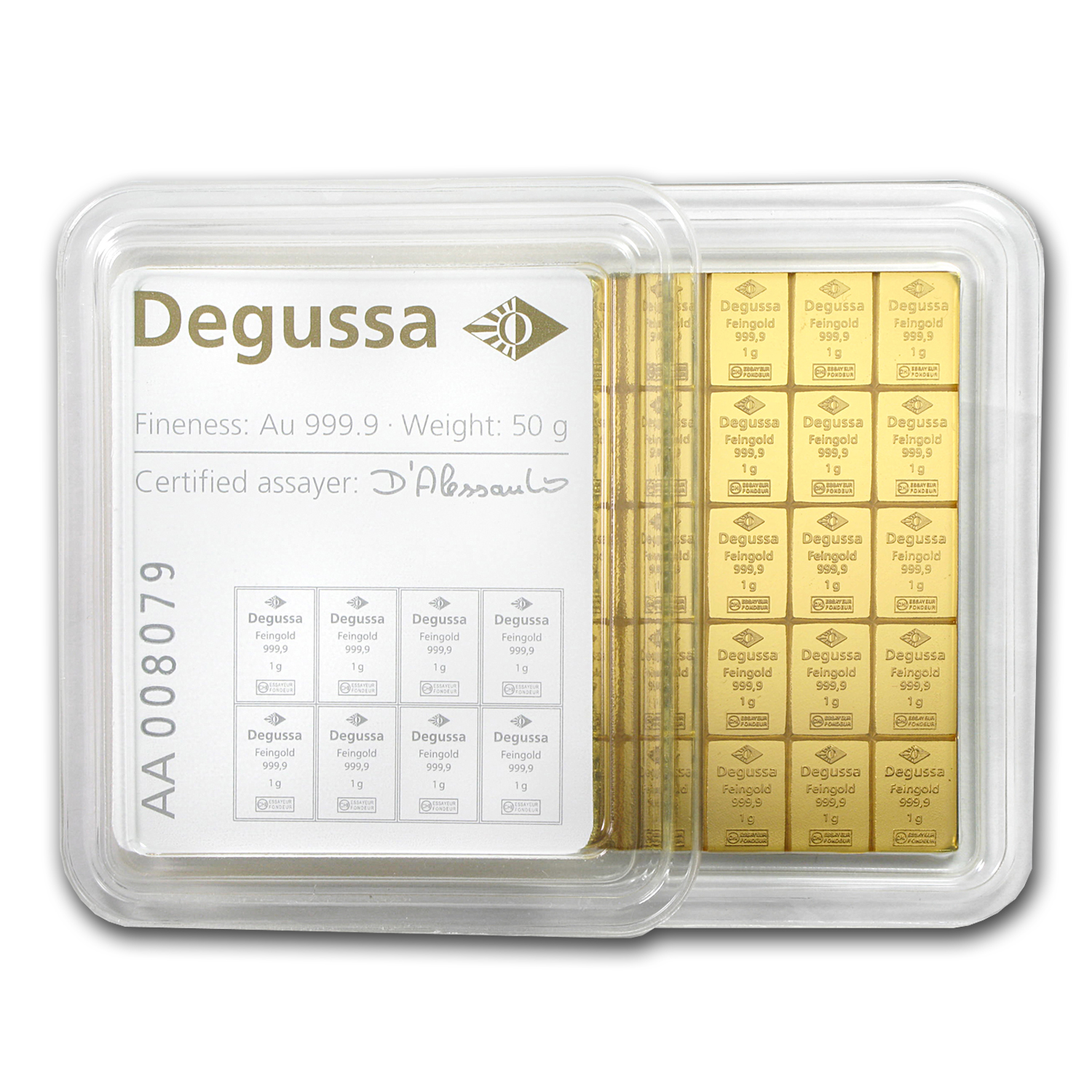 50x 1 gram Gold CombiBar™ - Degussa (In Assay)