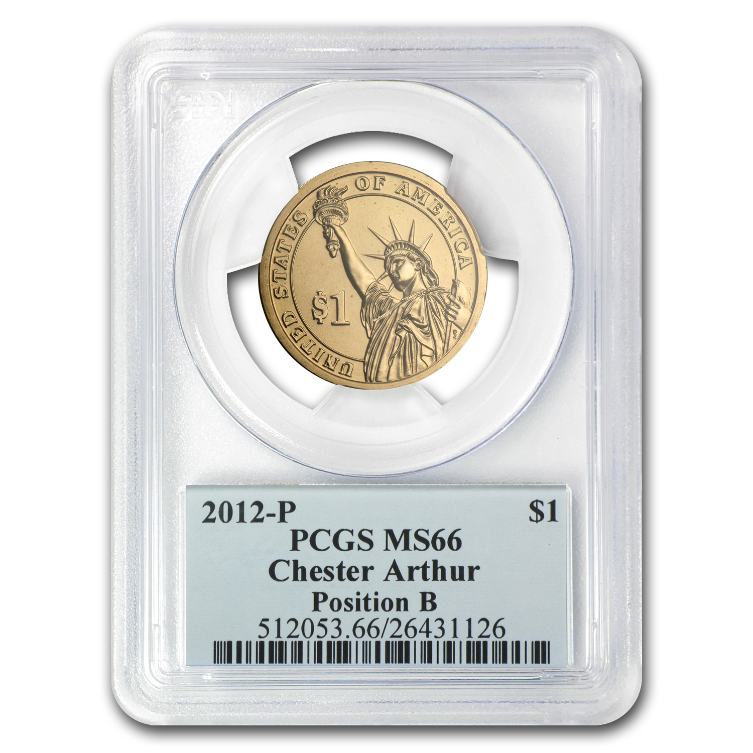 2012-P Chester Arthur Position B Presidential Dollar MS-66 PCGS