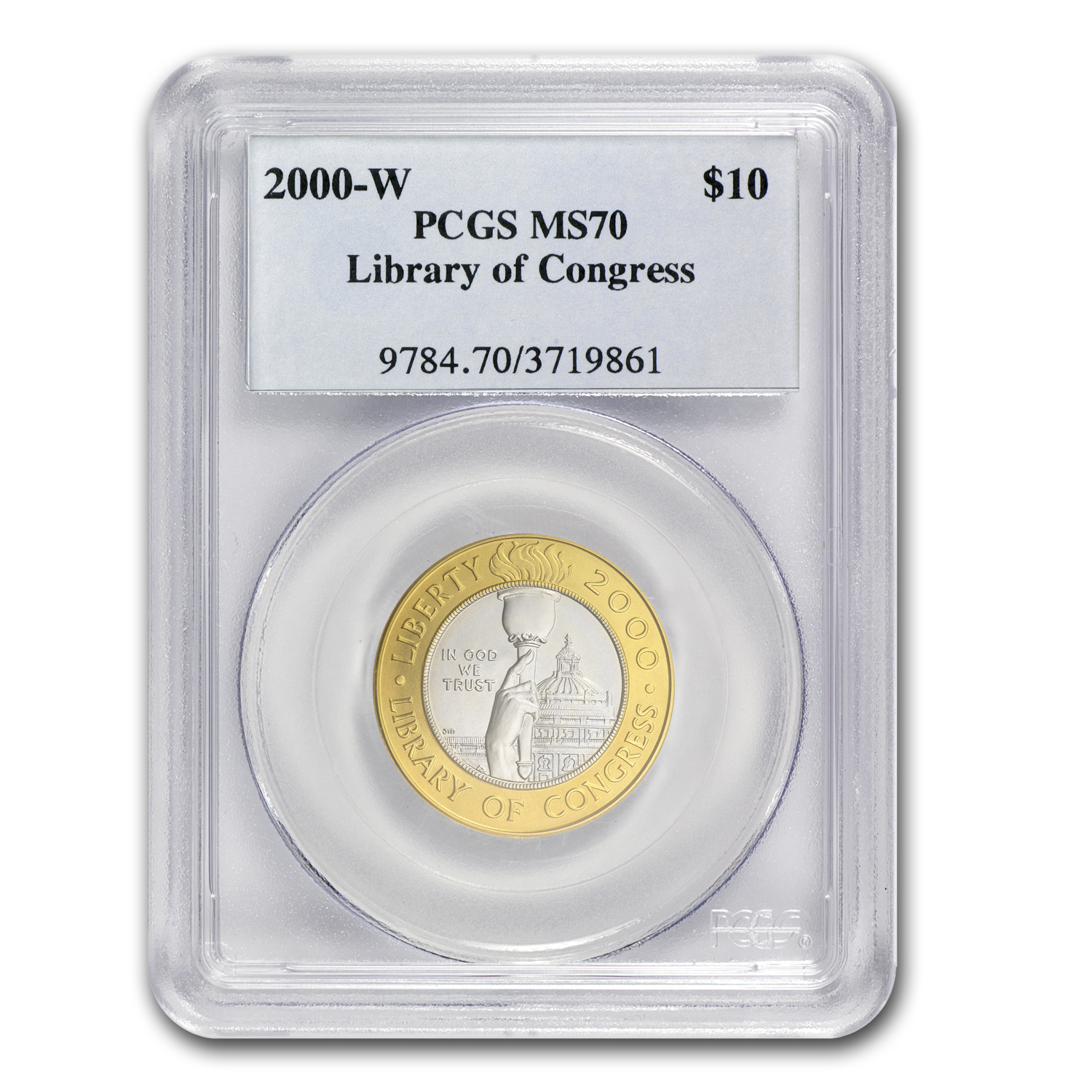 2000-W Gold/Platinum $10 Commem Library of Congress MS-70 PCGS