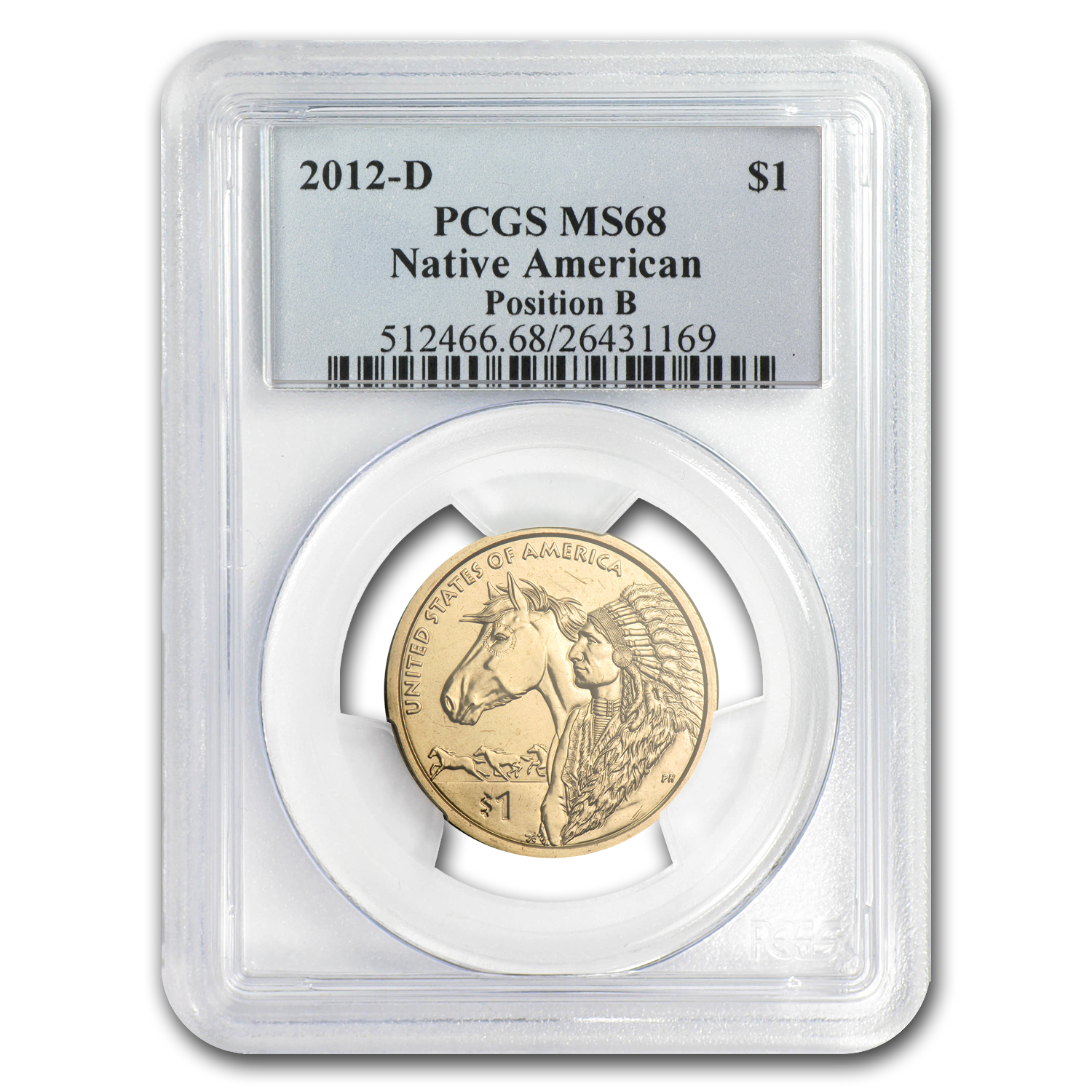 2012-D Native American Sacagawea Dollar Position B MS-68 PCGS