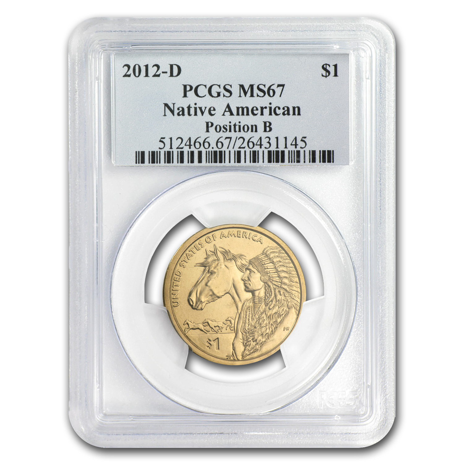 2012-D Native American Sacagawea Dollar Position B MS-67 PCGS