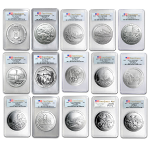 2010 - 2012-P 15-Coin 5 oz Silver ATB Set SP-70 PCGS (1st Strike)