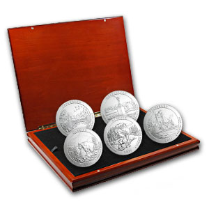2011-P 5 oz Silver ATB 5-Coin Specimen Set in Elegant Display Box