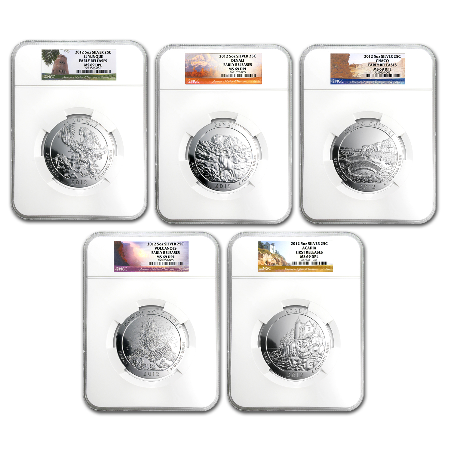 2012 5-Coin 5 oz Silver ATB Set MS-69 DMPL NGC (ER)