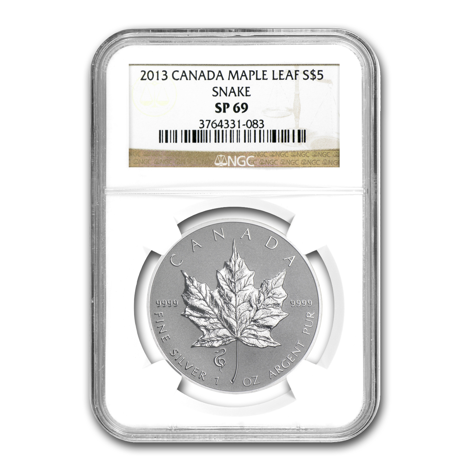 2013 Canada 1 oz Silver Maple Leaf Snake Privy SP-69 NGC