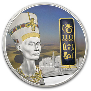 2012 Fiji 2 oz Proof Silver $50 Egyptian Jewels Nefertiti