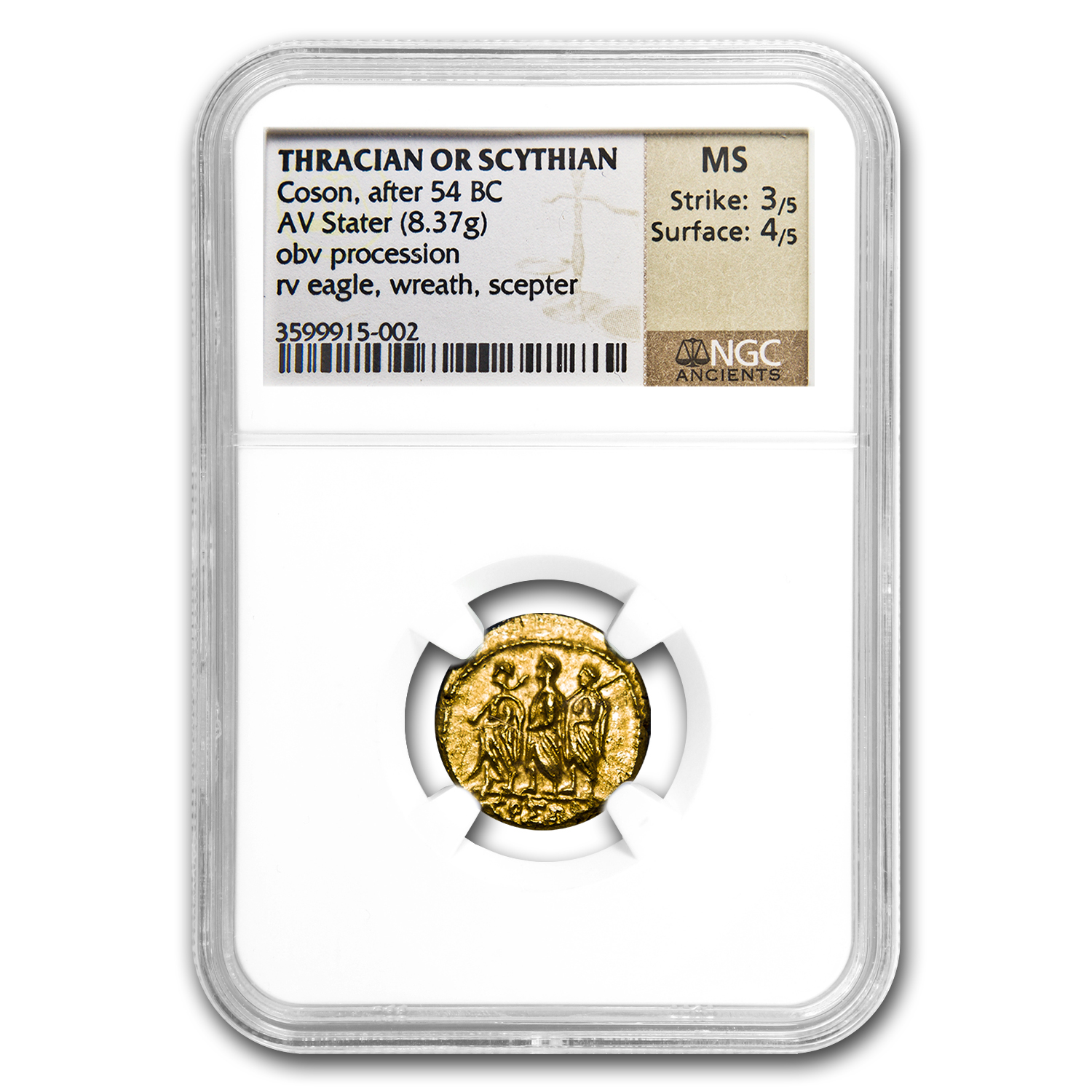 Thracian/Scythian Gold Stater 1st Cent. BC NGC - Uncirculated