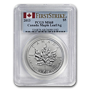 2013 1 oz Silver Canadian Maple Leaf MS-68 PCGS (First Strike)