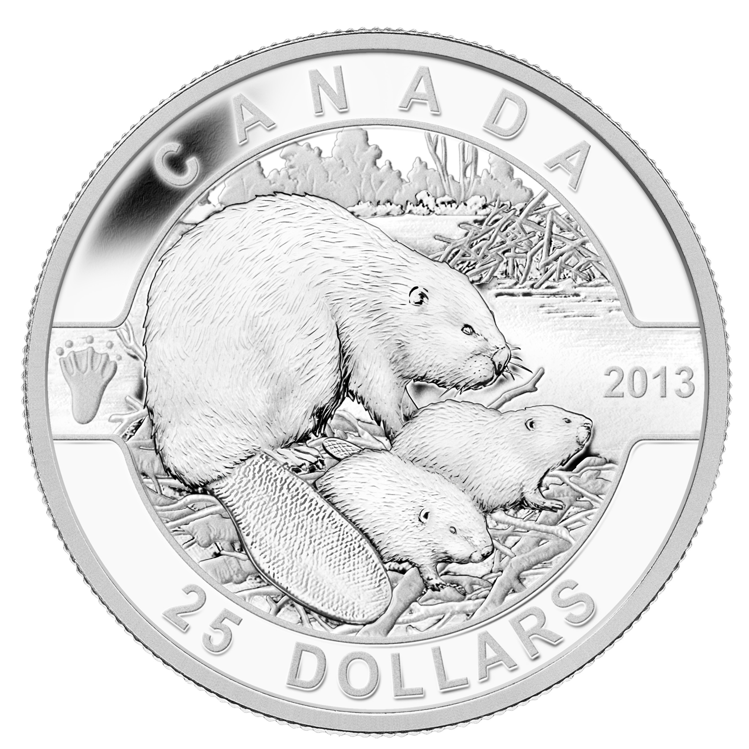 2013 Canada 1 oz Silver $25 The Beaver Family