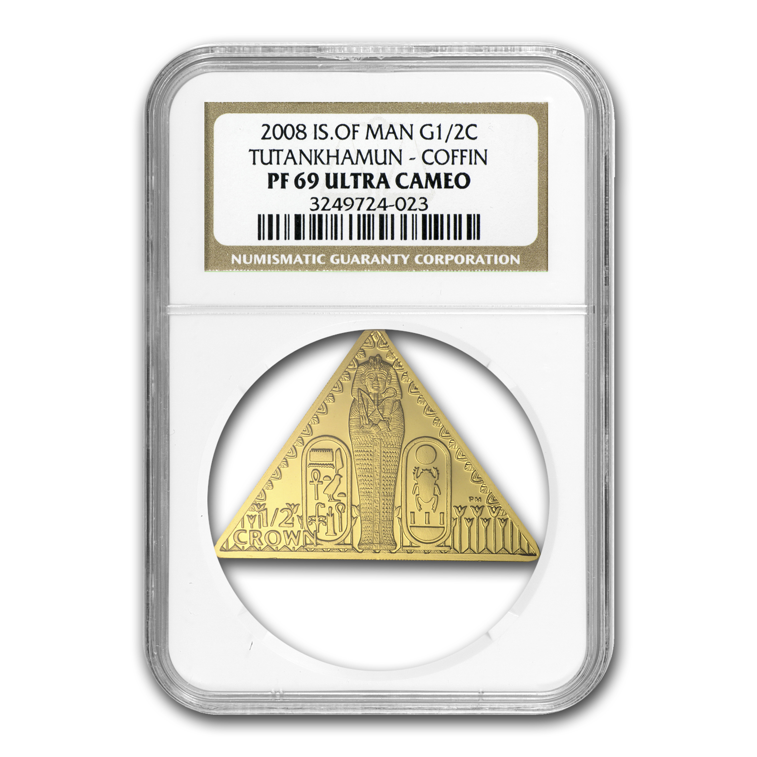 Isle of Man 1/2 oz Gold Crown King Tut Triangle Coin PF-69 NGC