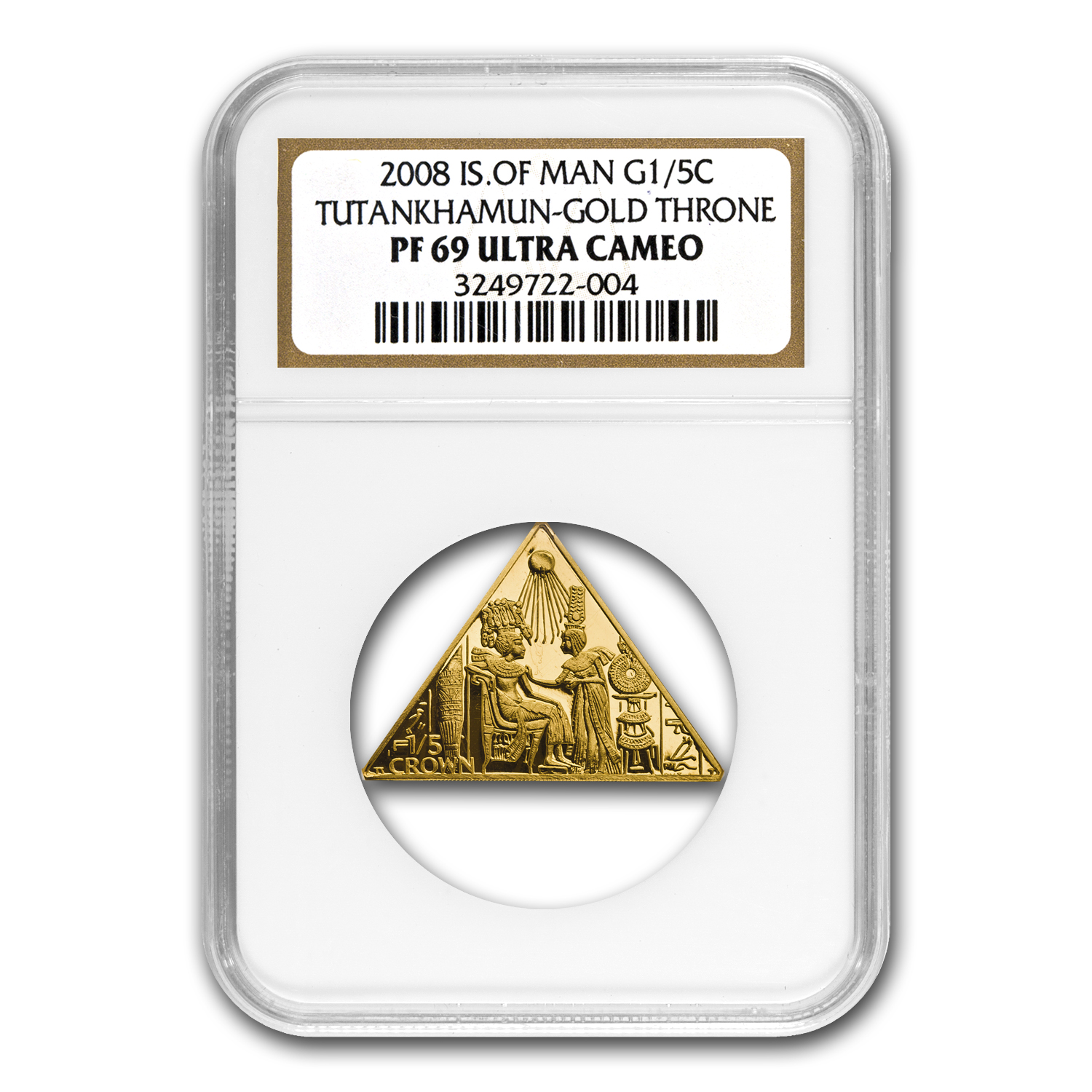 Isle of Man 1/5 oz. Gold Crown King Tut Triangle Coin NGC PF-69UC
