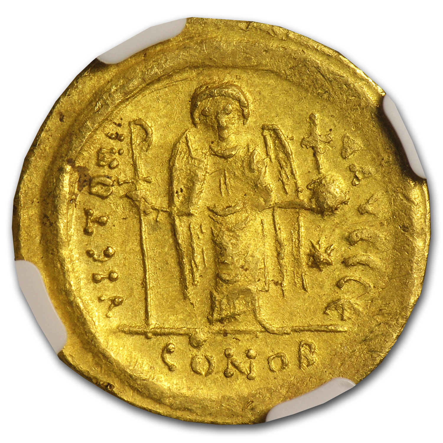 Byzantine Gold Solidus of Justinian I MS NGC (527-565 AD)