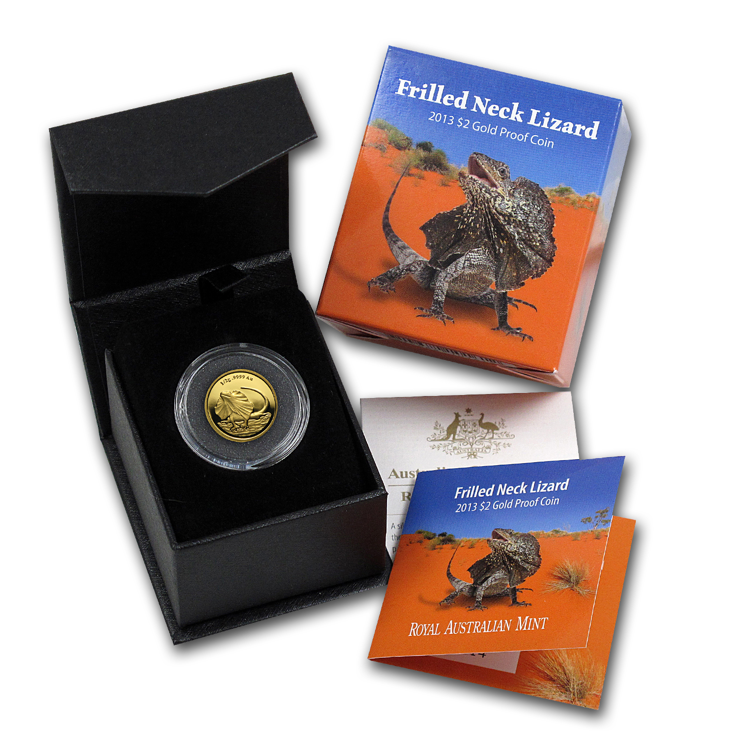 2013 Australia 1/2 gram Gold $2 Frilled Neck Lizard