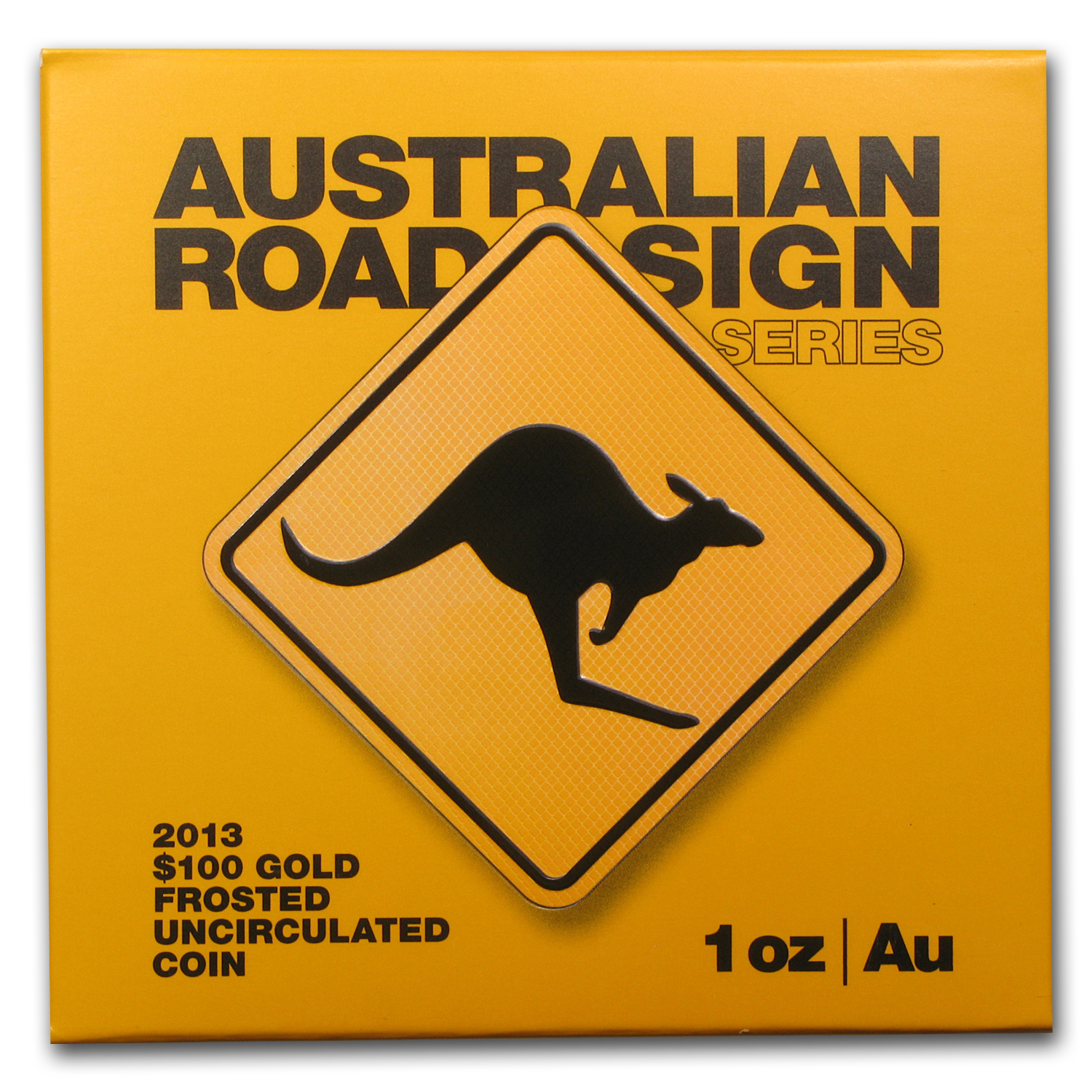 2013 1 oz Gold Royal Australian Mint $100 Kangaroo Road Sign BU