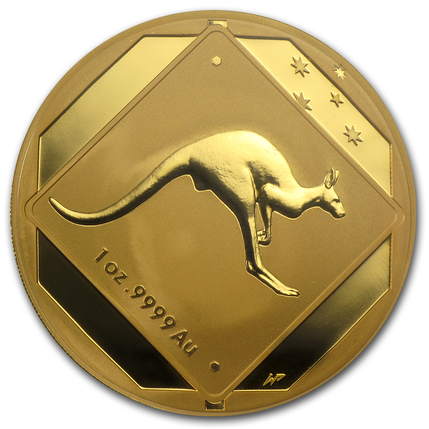 2013 Australia 1 oz Gold $100 Kangaroo Road Sign BU