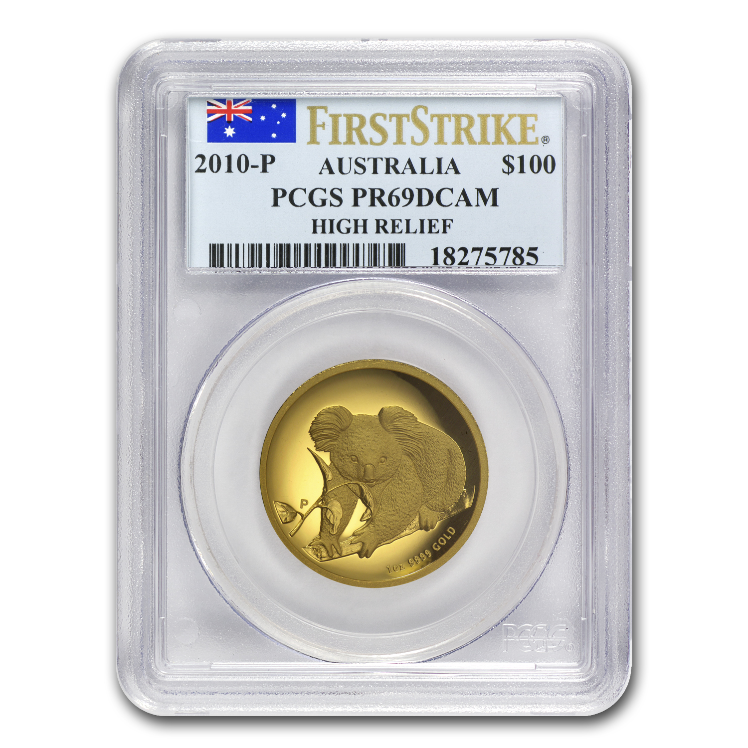 2010-P 1 oz Australian Gold Koala PR-69 PCGS (FS, High Relief)