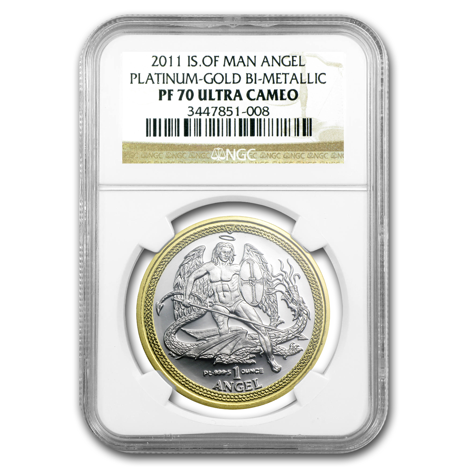 2011 Isle of Man Bi-Metallic Angel Plat/Gold PF-70 NGC