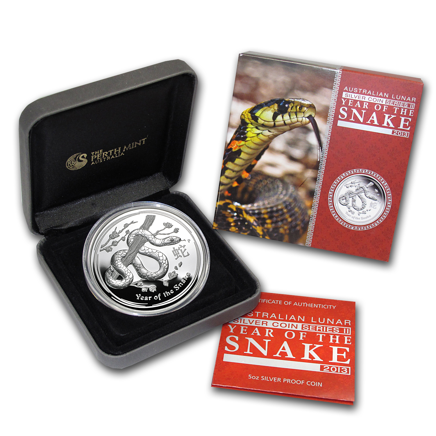 2013 Australia 5 oz Silver Year of the Snake Proof