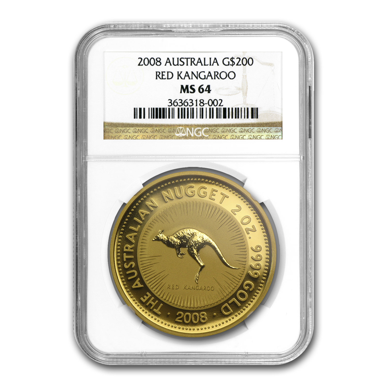 2008 Australia 2 oz Gold Nugget MS-64 NGC