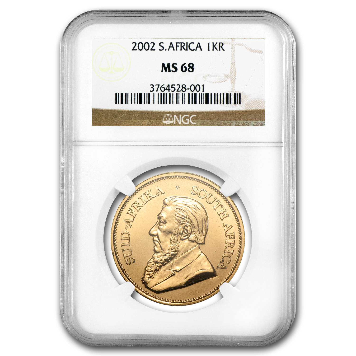 2002 1 oz Gold South African Krugerrand MS-68 NGC (Registry Coin)