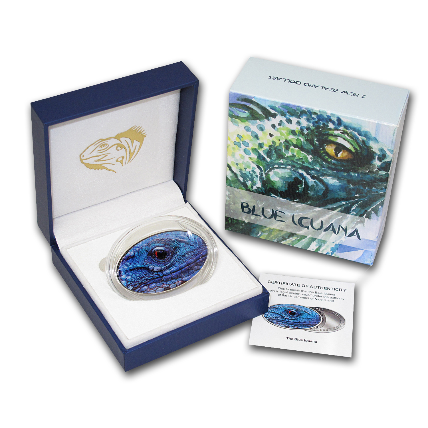 2012 Niue Silver $2 XL Ultra High Relief Blue Iguana