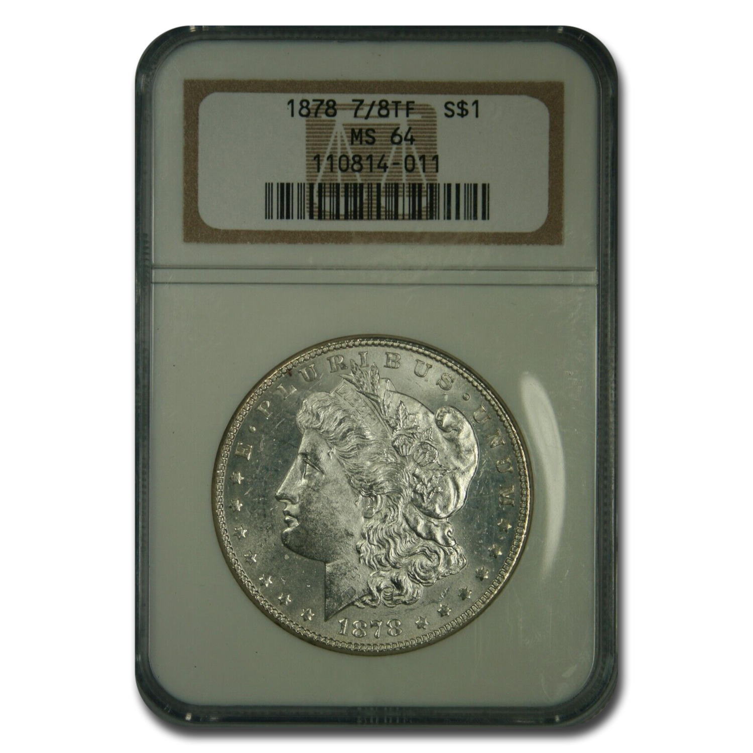 1878 Morgan Dollar 7/8 TF MS-64 NGC (Strong)