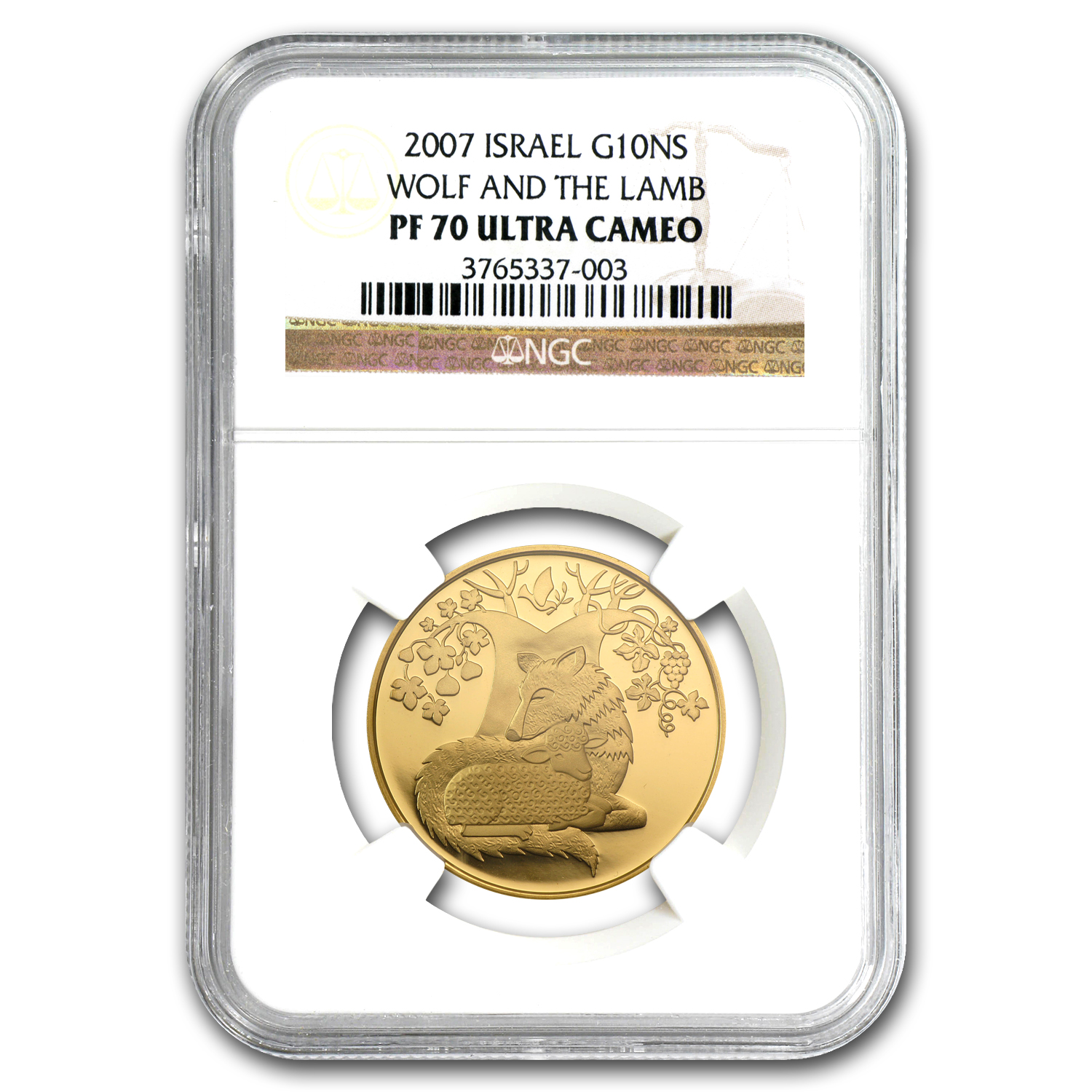 2007 Israel 1/2 oz Proof Gold Wolf & the Lamb PF-70 NGC
