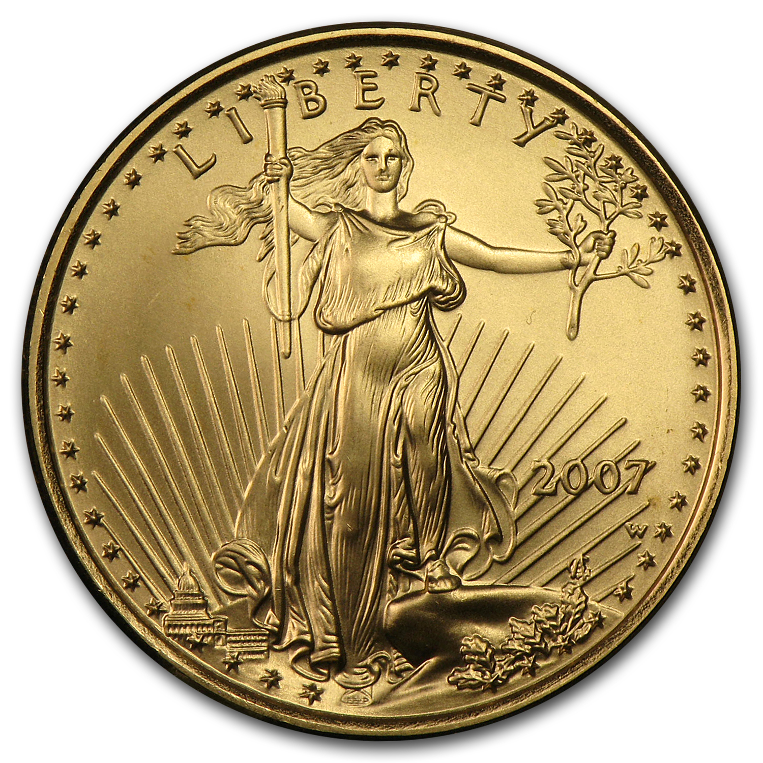2007-W 1/4 oz Burnished Gold American Eagle