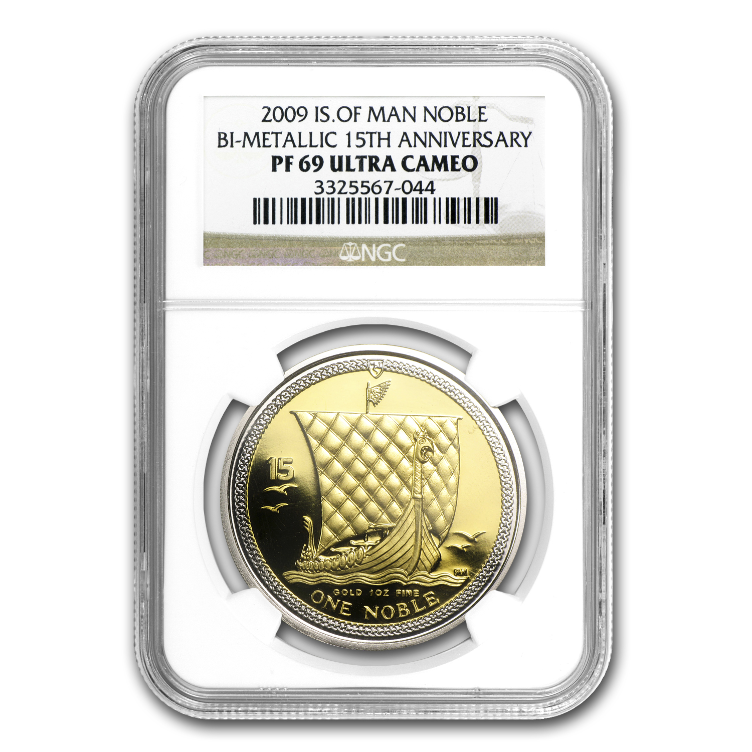 2009 Isle of Man Bi-Metallic Noble PF-69 NGC (15th Anniv)