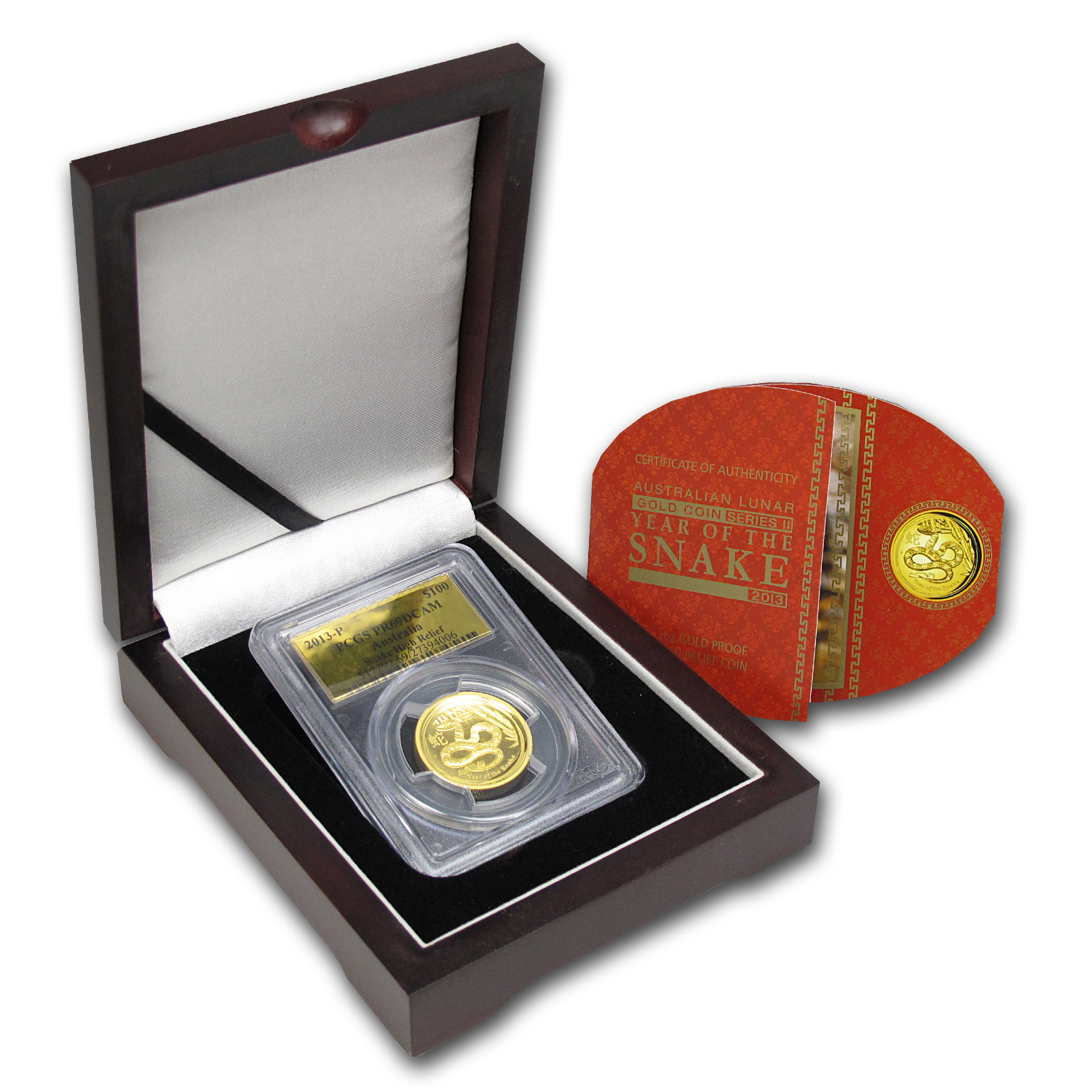 2013 1 oz Ultra High Relief Proof Gold Snake PCGS PR-69 DCAM