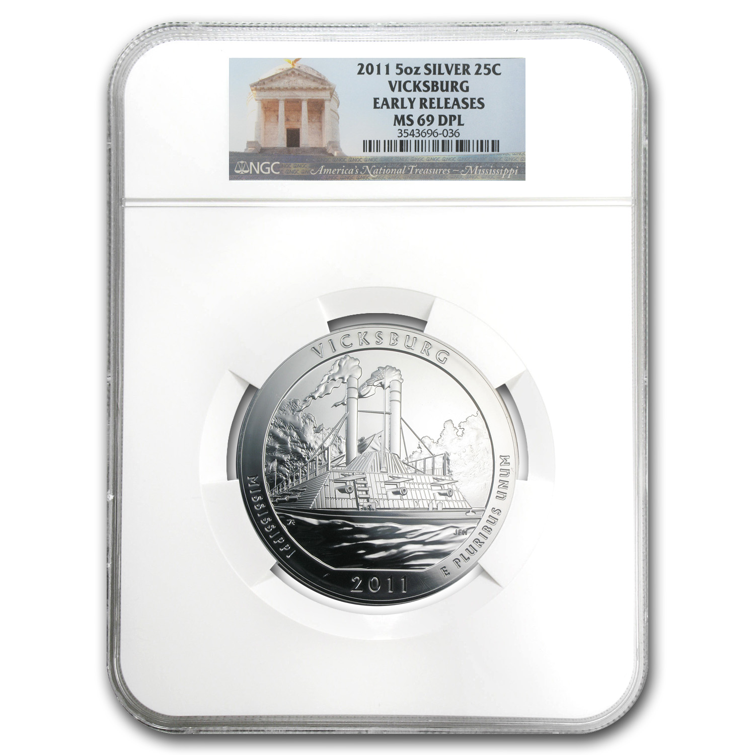 2011 5 oz Silver ATB Vicksburg MS-69 DPL Early Release NGC