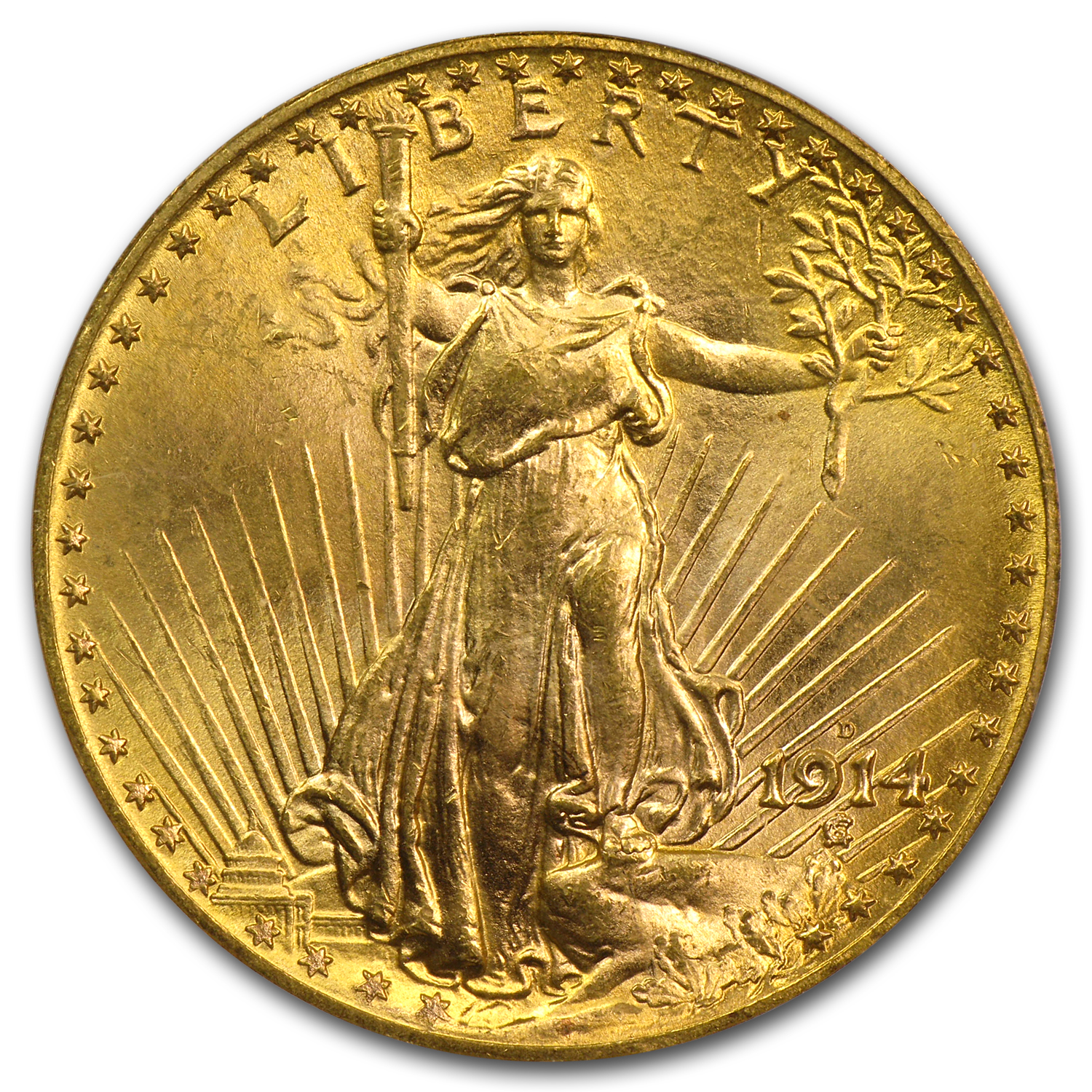 1914-D $20 St. Gaudens Gold Double Eagle MS-64+ PCGS (CAC)